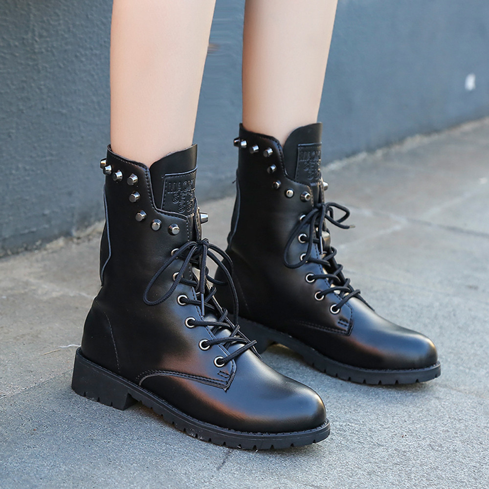 Winter boots women Rivets Shoe Round Toe Lace-UP Strap Square Heel ... 7ed42a77836a