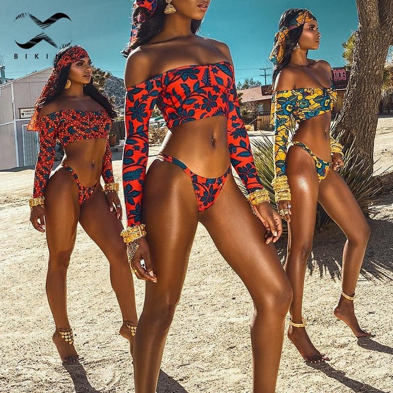 Bikinx Sexy Tribal Print Bathing Suit Women Long Sleeve Female Swimsuit 2018 Thong African Swimwear Padded Bra Bikini Set Brazil