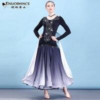 Modern Skirt, National Standard neon Dance clothes Adult Female Waltz Ballroom Dance Big Dress vestidos flamenco