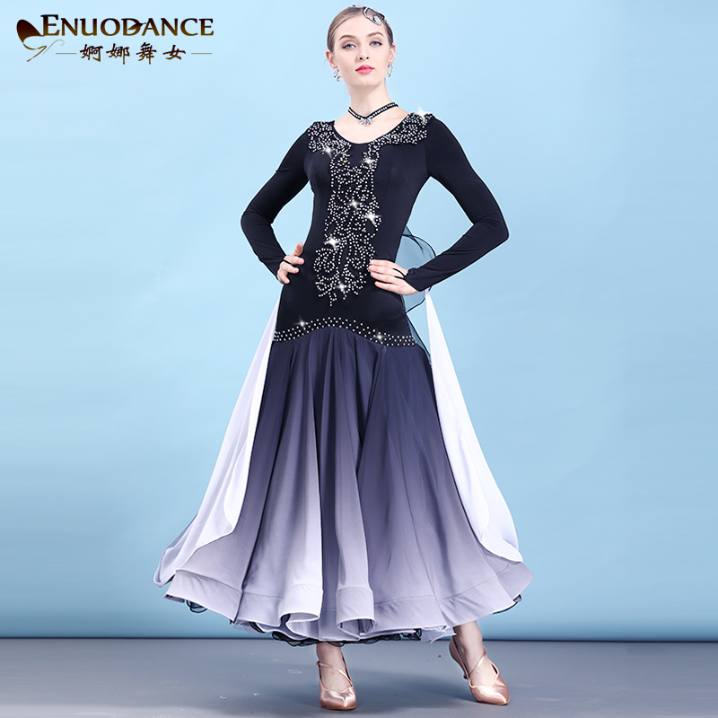Modern Skirt, National Standard neon Dance clothes Adult Female Waltz Ballroom Dance Big Dress vestidos flamenco