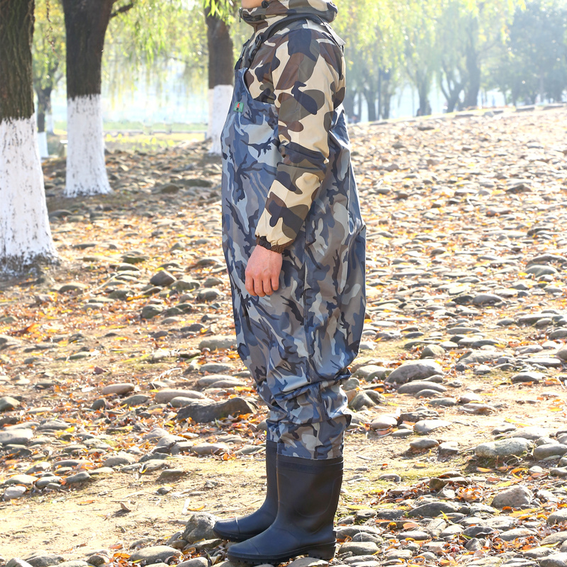 High-Jump 29.5cm Camouflage Fishing Waders PVC Waterproof Breathable Chest Pant Fishing Waders Dichotomanthes End Water Clothing high jump camouflage fishing waders 0 7mm pvc breathable waterproof chest fishing wader unisex dichotomanthes end fishing waders