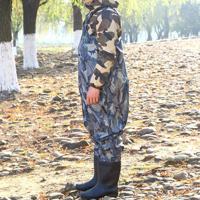 High-Jump 29.5cm Camouflage Fishing Waders PVC Waterproof Breathable Chest Pant Fishing Waders Dichotomanthes End Water Clothing