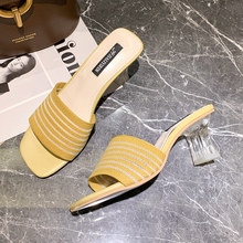 Slip On High Heels Sandals Fashion Transparent Women Shoes Summer 2019 Soft Elegant Slippers White
