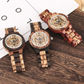 Men's Watch Hollow Out Automatic self winding Mechanical Watch Luminous Function Wood Strap Wristwatch Relojes Male Xmas Gift|Mechanical Watches| |  -