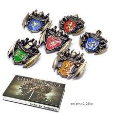 1 set canción de hielo y fuego colgante collar Juego de tronos familia placa llavero accesorios Cosplay clave cadena con caja de regalo