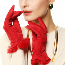 Фотография Women Leather Gloves Woman True Suede Silk Thin Lining Gloves With Real Rabbit Hair Mittens Free shipping