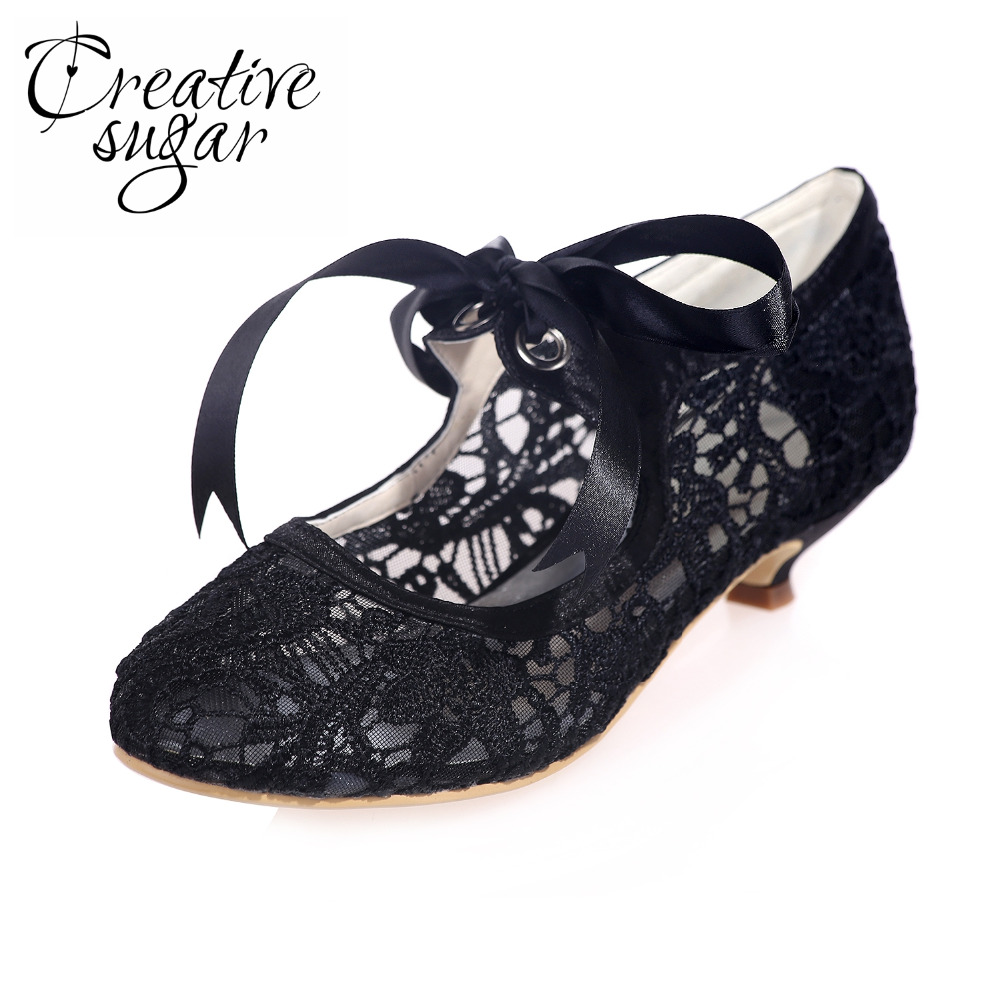 Creativesugar see through lace ribbon tie woman med low heels bridal wedding party prom black white ivory mother of bridal shoes