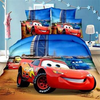 Blue 3D McQueen Cars ชุดเครื่องนอนสำหรับเด็กชุดผ้าปูที่นอนห้องนอน Decor SINGLE TWIN ขนาดผ้าคลุมเตียง
