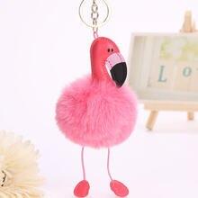 Милый женский пушистый розовый брелок в виде фламинго на сумках