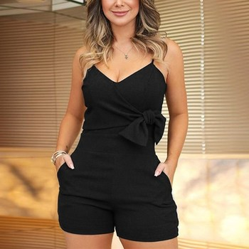 Plus Size Fashion 2019 Women V-Neck Spaghetti Strap Shorts Rompers New Casual Sleeveless Bow Slim Jumpsuit Short Solid Overalls 4