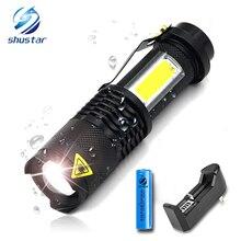 ไฟฉาย LED แบบพกพา Q5 + COB MINI สีดำกันน้ำ LED ไฟฉายใช้แบตเตอรี่ AA 14500 โคมไฟ