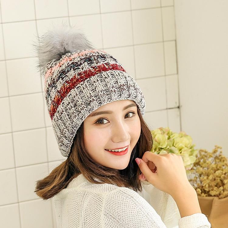 Fashion Female Beanies Women Cap Winter Gorro Korean Fleece Thickening Wool Hat Keep Warm Caps Earmuffs Girl Head Knitting Hats