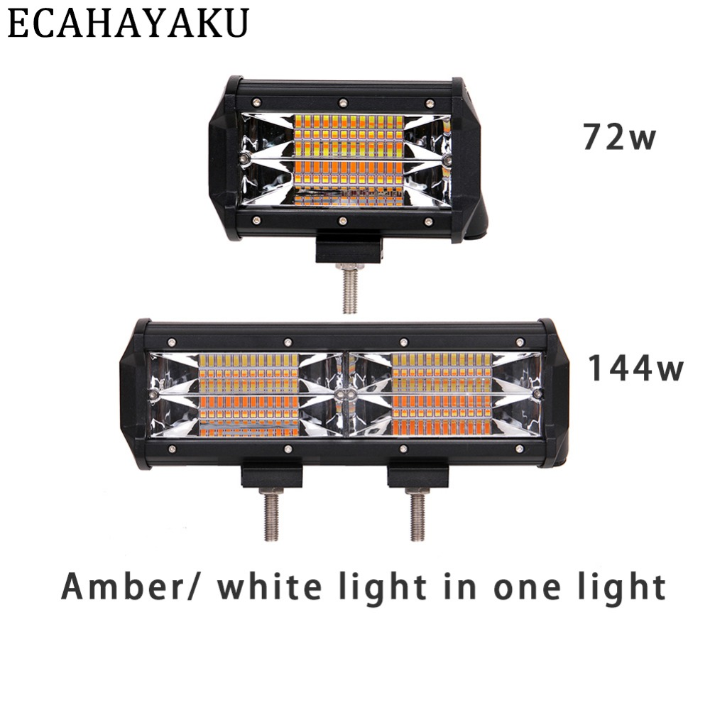 Ecahayaku New Dual 5inch 72w Led Work Light Bar Flood Lamp Driving 12v Drive 7 High Efficiency White Flashlight 1x 11inch 144w Amber Beam For Offroad
