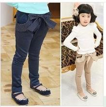 Free shipping New Korean style autumn/spring children clothing solid color harem pants long section with big bow for girls