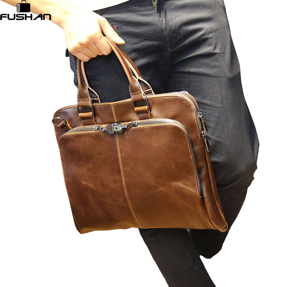 цены  New 2017 Fashion Men handbag Leather Mens shoulder Bag Crazy Horse Business Men's messenger Laptop bag casual men Briefcase