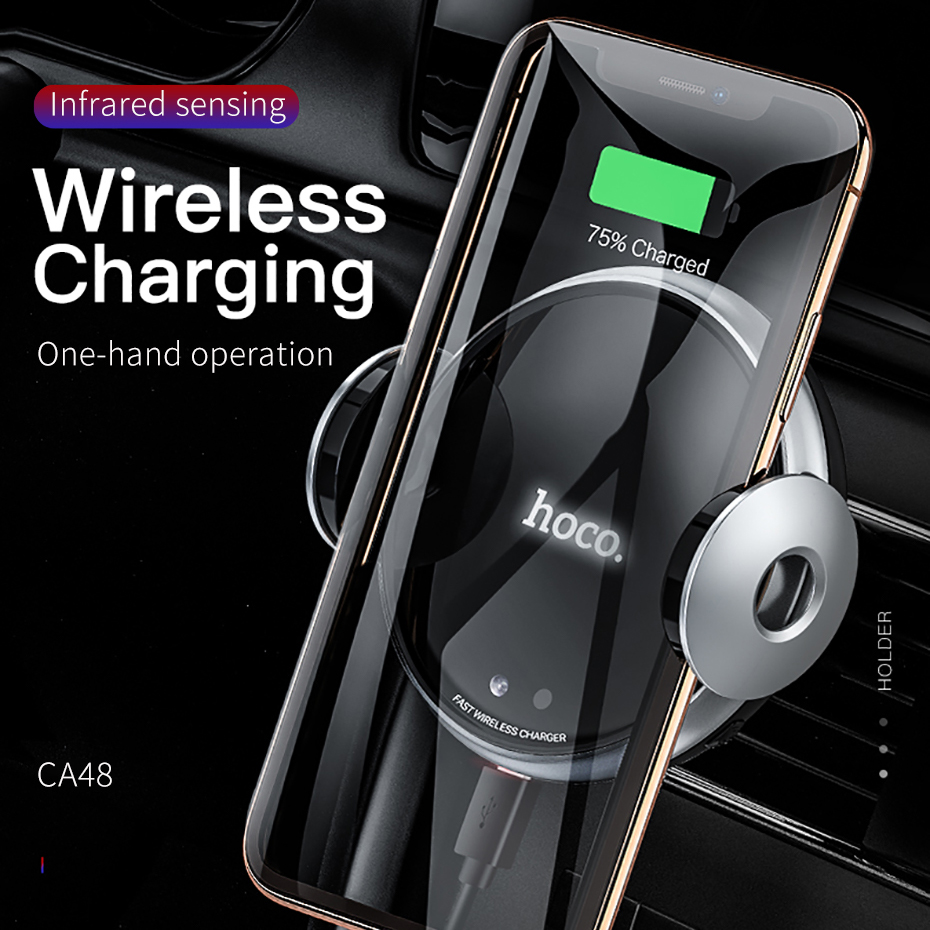 Image 3 - HOCO Qi Car Wireless Charger For iPhone Xs Max Xr X Samsung S10  S9 Intelligent Infrared Fast Wirless Charging Car Phone HolderPhone  Holders