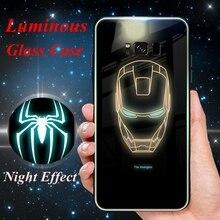 Для samsung примечание 9 8 Galaxy S8 Железный человек Чехлы Marvel световой Стекло чехол для samsung Galaxy S9 S8 плюс Примечание 9 8 Супермен дело
