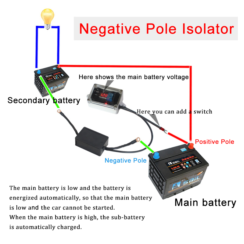12V Car Auto Double Battery Isolator Protector Dual Battery Controller Smart Battery Manager Automatic Charging And Power Off