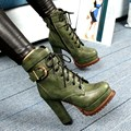 European Style Black Green PU Round Toe Heavy-bottomed Thick Heels Lace-up Naked Boots With Belt Buckle Fashion Booties Shoes