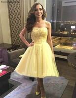 Короткие желтые коктейльные платья без рукавов 2019 линия для девочек до колена Выпускной платья для выпускного плюс Размеры индивидуальный