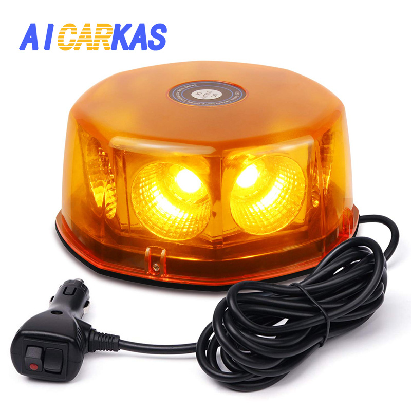 AICARKAS 48W Round COB LED Roof Top Emergency Hazard Flash Warning LED Mini Strobe Beacon Lights Bar for Truck Vehicles 12 24V