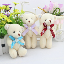 12pcs free shipping 12CM soft plush stuffed toy cartoon joint bear bouquet packaging material joint mini teddy bear beige color