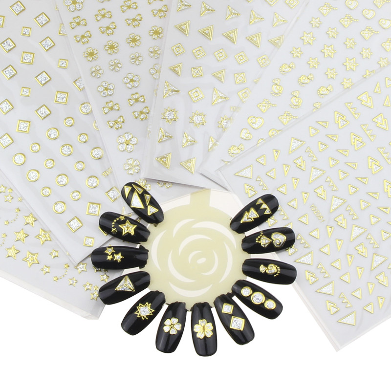 1 Sheet Glue Nail Sticker Glitter Golden Manicure Tools Adhesive Decals Nail Art Tips Decoration Wholesale Retails WY400-WY405 projector lamp tv lamp bp96 01472a with housing for samsung hls5686wx xaa hl s5086wx bp96 01600a