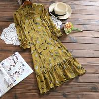 Mori Girl Small Flowers Dress 2017 New Spring and Autumn Women Long Sleeve Floral Print Chiffon Dresses Yellow,Blue