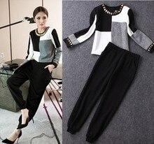 Europe 2016 haren pant suit fashion female cotton linen jacket spring new leisure two piece temperament women's set