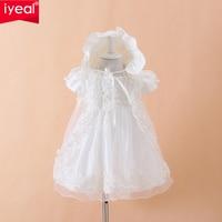 IYEAL Bé Gái Christening Gown Dresses + Hat + Khăn Choàng Vestidos Infantis Công Chúa Đám Cưới Bên Đầm Ren cho Sơ Sinh Phép Rửa 3 CÁI