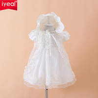 IYEAL Baby Girls Christening Gown Dresses+Hat+Shawl Vestidos Infantis Princess Wedding Party Lace Dress for Newborn Baptism 3PCS