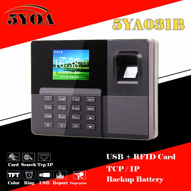 البيومترية بصمة الحضور الوقت ساعة + قارئ بطاقة الهوية + لكمة قارئ الموظف مسجل tcpip + usb + بطارية احتياطية آلة