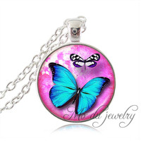 Aqua vlinder hanger ketting roze vlinder sieraden verzilverd hanger lange trui collier geschenken voor dier lover