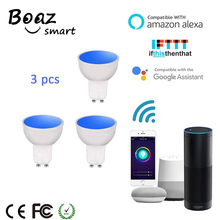 Boaz-EC Smart Wifi GU10 Spotlight 5W RGBW Led Light Bulb Dimmable Lamp Alexa Echo Google Home IFTTT Tuya