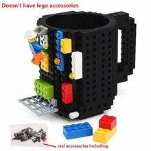 Фотография 1 PC Build a Brick Mug DIY Building Blocks Coffee Cups Frozen Coffee Mug DIY Block Puzzle  Mug 12oz 350 ml Christmas Gift