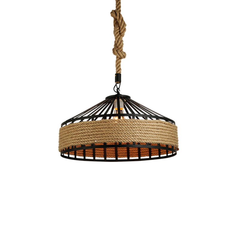 wongshi Dia50/40/30cm Hemp Rope Iron Pendant Lamp Rural Pastoral Creative Restaurant Cafe Personality Wrought Iron Pendant Light personality creative rope restaurant wall light simple pastoral iron retro wall lamp double section turner lighting
