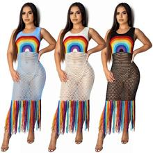 Fringed Tassel Summer Beach Dress Women Sexy Rainbow Maxi Sleeveless Boho Knit Crochet Hollow Out Party Long