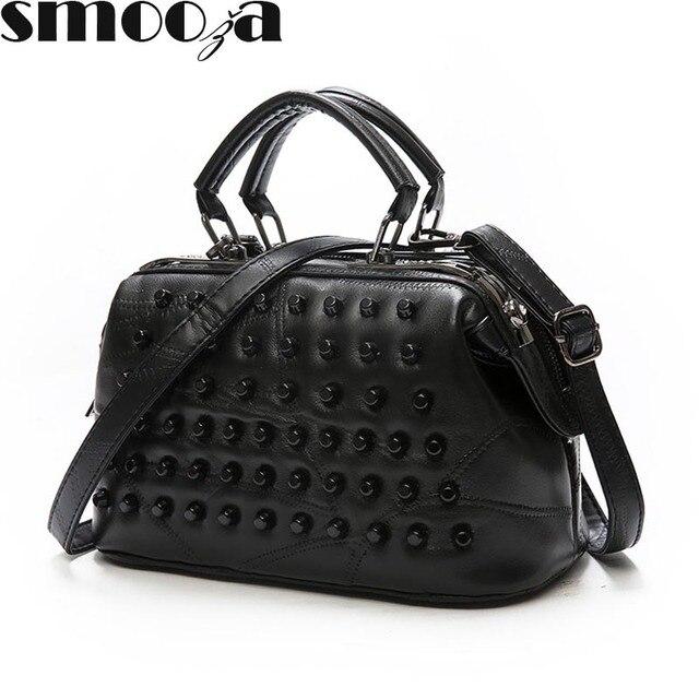 SMOOZA Luxury Black Genuine Leather Famous Women Messenger Bags Sheepskin handbag  Crossbody Bag Rivet Shoulder hand Bag Bolas e12a2a0f5dfc