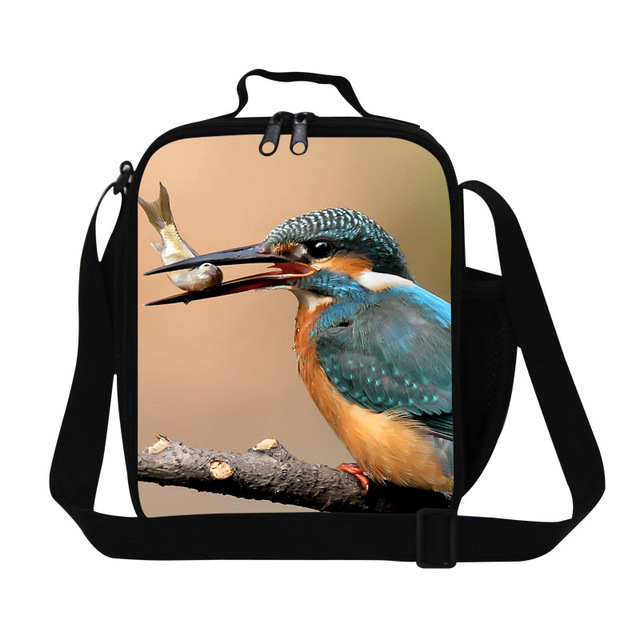 Cute Bird print insulated lunch bag for adults work,personalized thermal lunch container with straps,lunch box bags for kids