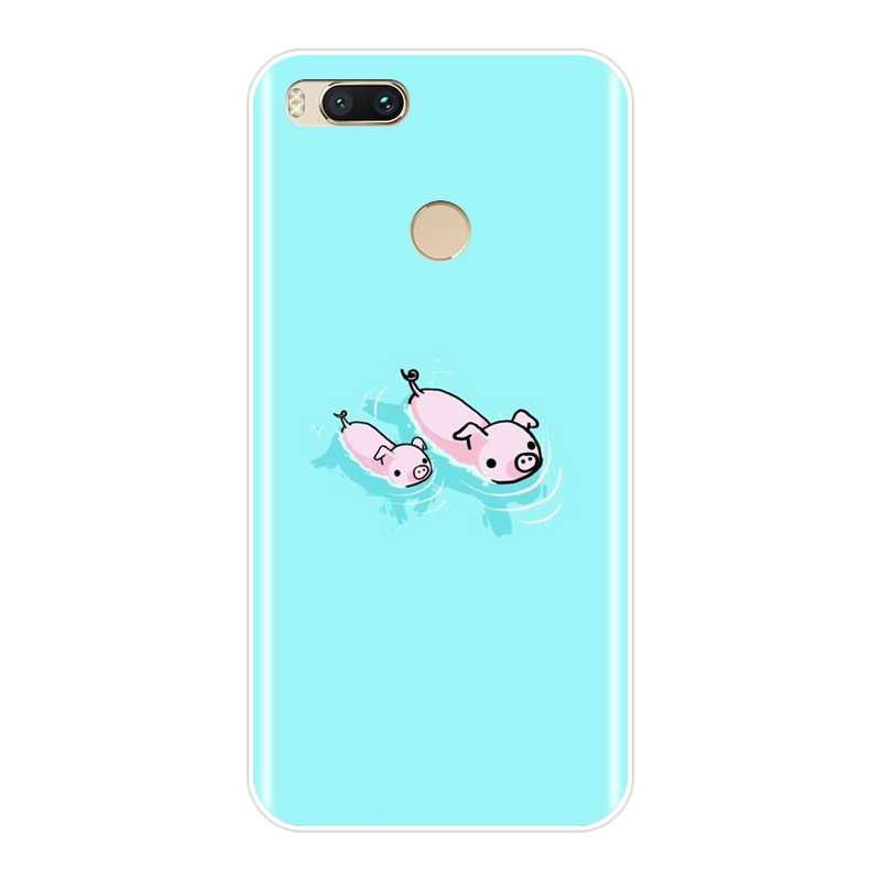 Funda trasera de cerdo conejo pato azul guitarra para Xiaomi mi A1 A2 Lite 8 SE funda de teléfono suave de silicona para Xiaomi mi 5 5C 5S 5X 6 6X Plus