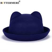 BUTTERMERE Blue Bucket Hat For Child Cat Ears Stylish Casual Japanese Fishing Cap Sping Winter Warm Kawaii Girls