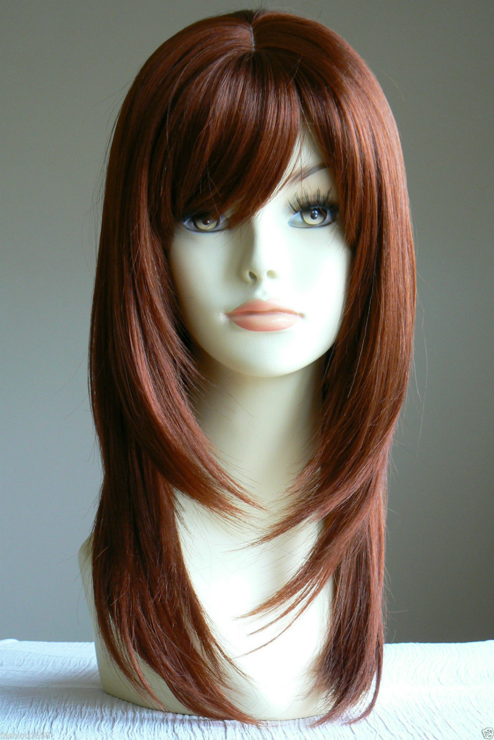 Long Straight Copper Red Layered salon Lady Wig Blonde