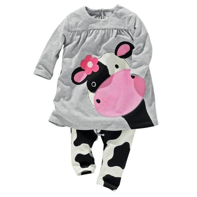 0bd71f6cd Otoño Invierno 2016 ropa del bebé manga larga vaca Linda imprimió el  vestido + Pantalones niños