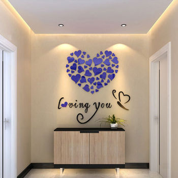 Modern DIY Acrylic Wall Stickers 3D Mirror Love Heart Home Decor Quote Flower Crystal Wall Stickers Decal Home Art Decor 8