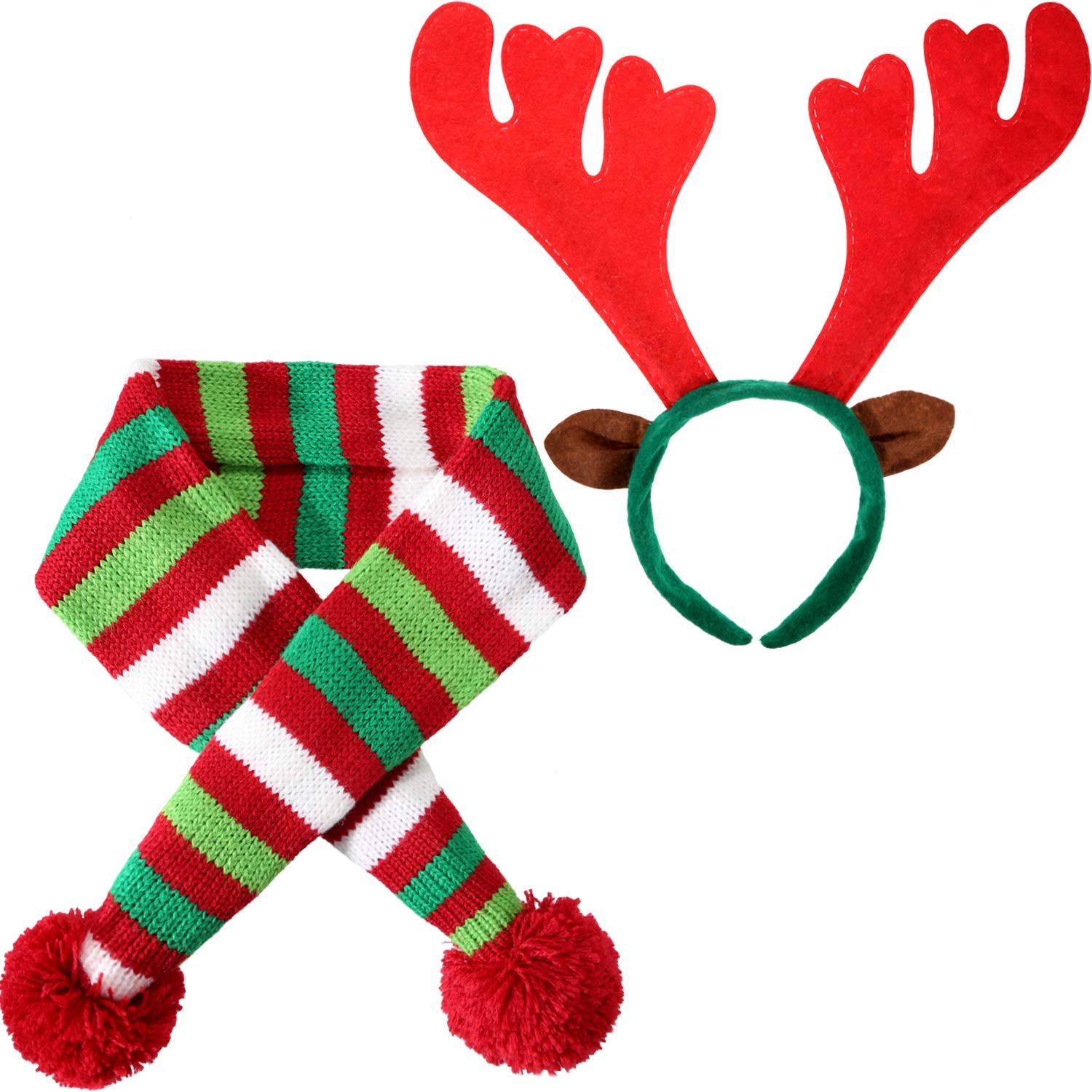 font b Pet b font Knit Christmas Scarf Winter Striped Scarf Reindeer Antlers Headband for