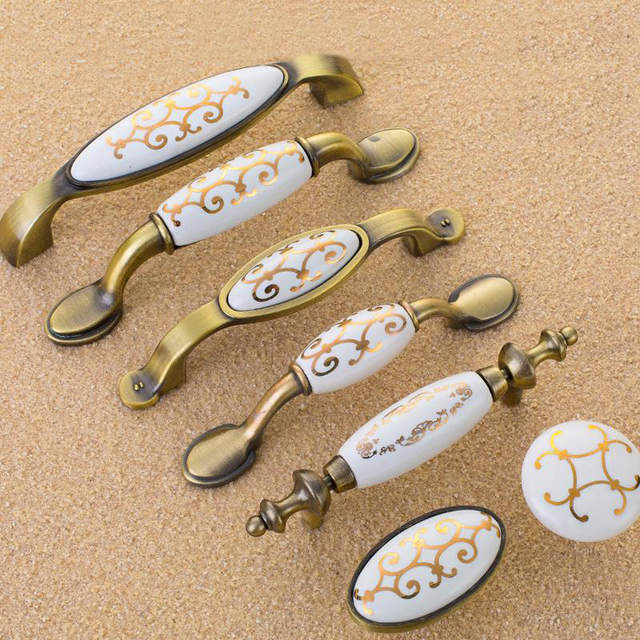 5pcs Antique Furniture Knobs European Ceramic Cabinet Knobs And Handles  Gold Flower Kitchen Handles Drawer Pulls