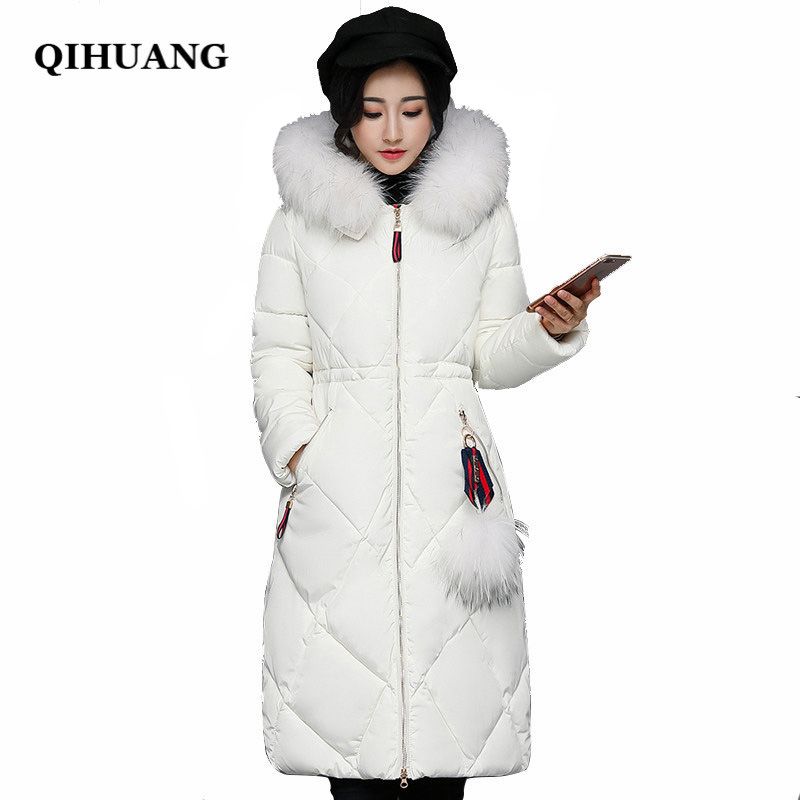 QIHUANG New Hot Women 's   Down   Jackets 2018 Winter Long Duck   Down     Coat   Hooded Fur Collar Female   Coat   Slim Warm Women Long Parkas