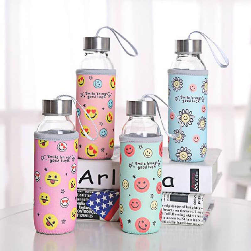 300ml Glass Drinking Water Bottle 300ml Borosilicate Glass Beverage Bottle with Cloth Cover Pouch Portable Travel Drink Bottle