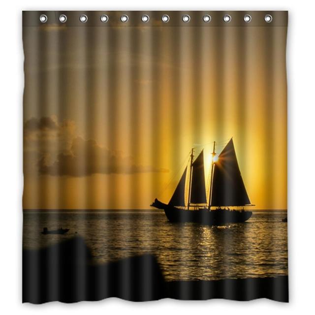 Custom Sunset Ship Sailing In The Mighty Seas Create Design Bath Waterproof Bathroom Shower Curtains 48x72