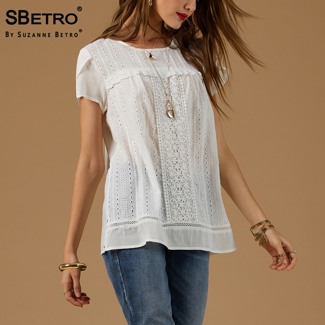 57c674147f739 SBetro By Suzanne Betro Cotton Women T-Shirts Eyelet Lace Trim Short Sleeve  Tunic Summer Casual Ladies Bohemian Tops Shirt Femme